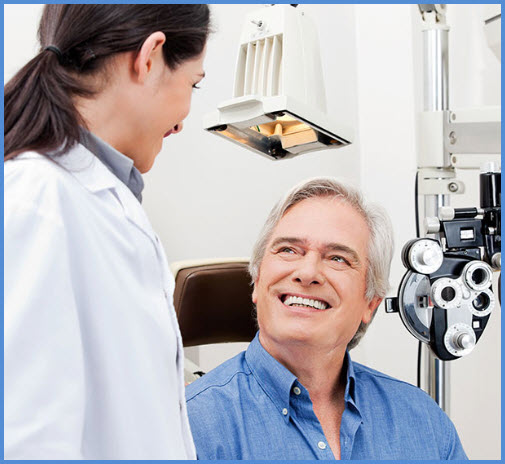 Senior patient consulting an optometrist
